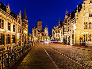 Bilder Belgien Gent Gebäude Nacht Straßenlaterne Straße Zaun Städte