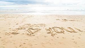 Fotos Meer Sand Strände Englische Wort I love you
