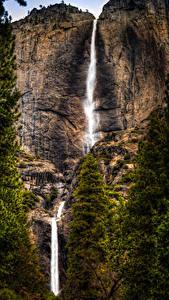 Fotos Vereinigte Staaten Park Wasserfall Yosemite Felsen
