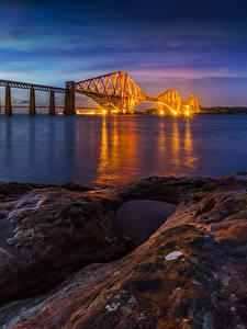 Fotos Schottland Flusse Brücken Abend Küste Steine Forth Rail Bridge