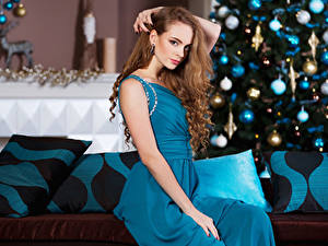 Pictures Christmas Brown haired Gown Sit