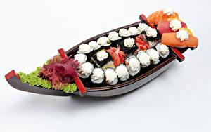 Hintergrundbilder Meeresfrüchte Sushi Gemüse Boot Weißer hintergrund