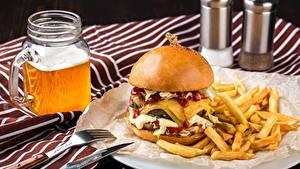 Bilder Burger Bier Fritten Fast food