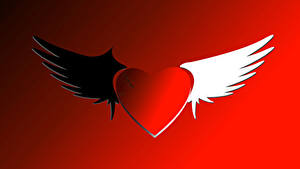 Wallpaper Valentine's Day Red background Heart Wings