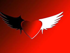 Papéis de parede Dia dos Namorados Fundo vermelho Coração Asa
