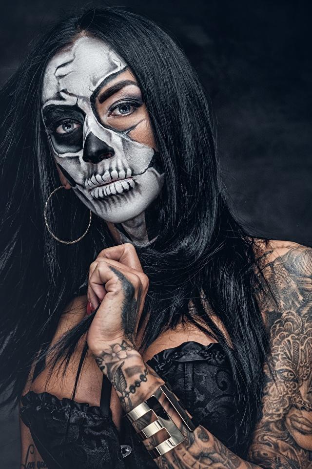 Fondos De Pantalla 640x960 Day Of The Dead Maquillaje