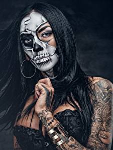 Hintergrundbilder Make Up Brünette Tätowierung Haar day of the dead Mädchens