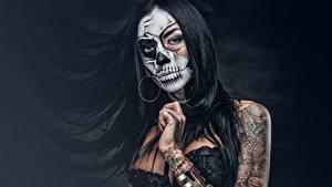 Hintergrundbilder Make Up Brünette Tätowierung Haar day of the dead Mädchens