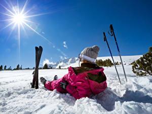 Fotos Winter Skisport Schnee Sonne Mütze
