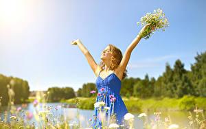 Hintergrundbilder Kamillen Blond Mädchen Kleid Hand Glücklich Mädchens