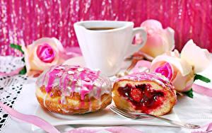 Hintergrundbilder Kaffee Donut Zuckerguss Tasse Lebensmittel