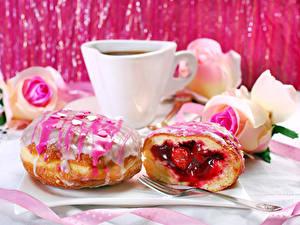 Hintergrundbilder Kaffee Donut Zuckerguss Tasse