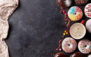 Fotos Donut Kaffee Zuckerguss Vorlage Grußkarte