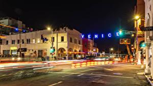 Bilder Vereinigte Staaten Gebäude Wege Kalifornien Nacht Straßenlaterne Straße Venice Beach Städte