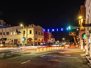 Bilder Vereinigte Staaten Gebäude Wege Kalifornien Nacht Straßenlaterne Straße Venice Beach