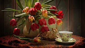 Hintergrundbilder Stillleben Tulpen Tiger Tisch Vase Tasse Tropfen Blumen