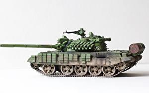 Bilder Panzer Spielzeuge Weißer hintergrund Russischer T-55 AMV Militär