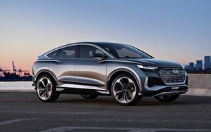 Bilder Audi Seitlich Metallisch Softroader Q4 Sportback e-tron Concept, 2020 Autos