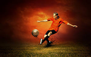 Bilder Fußball Mann Schlagen Bein Ball Sport