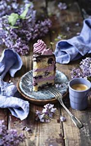 Bilder Kaffee Cappuccino Torte Bretter Tasse Stück Essgabel Lebensmittel