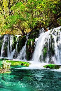 Sfondi desktop Valle del Jiuzhaigou Cina Parchi Cascata I muschi Natura