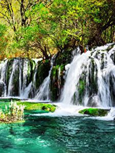 Hintergrundbilder Jiuzhaigou park China Park Wasserfall Laubmoose