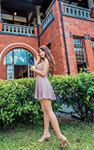 Bilder Asiatische Posiert Kleid Bein Mädchens