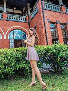 Bilder Asiatische Posiert Kleid Bein