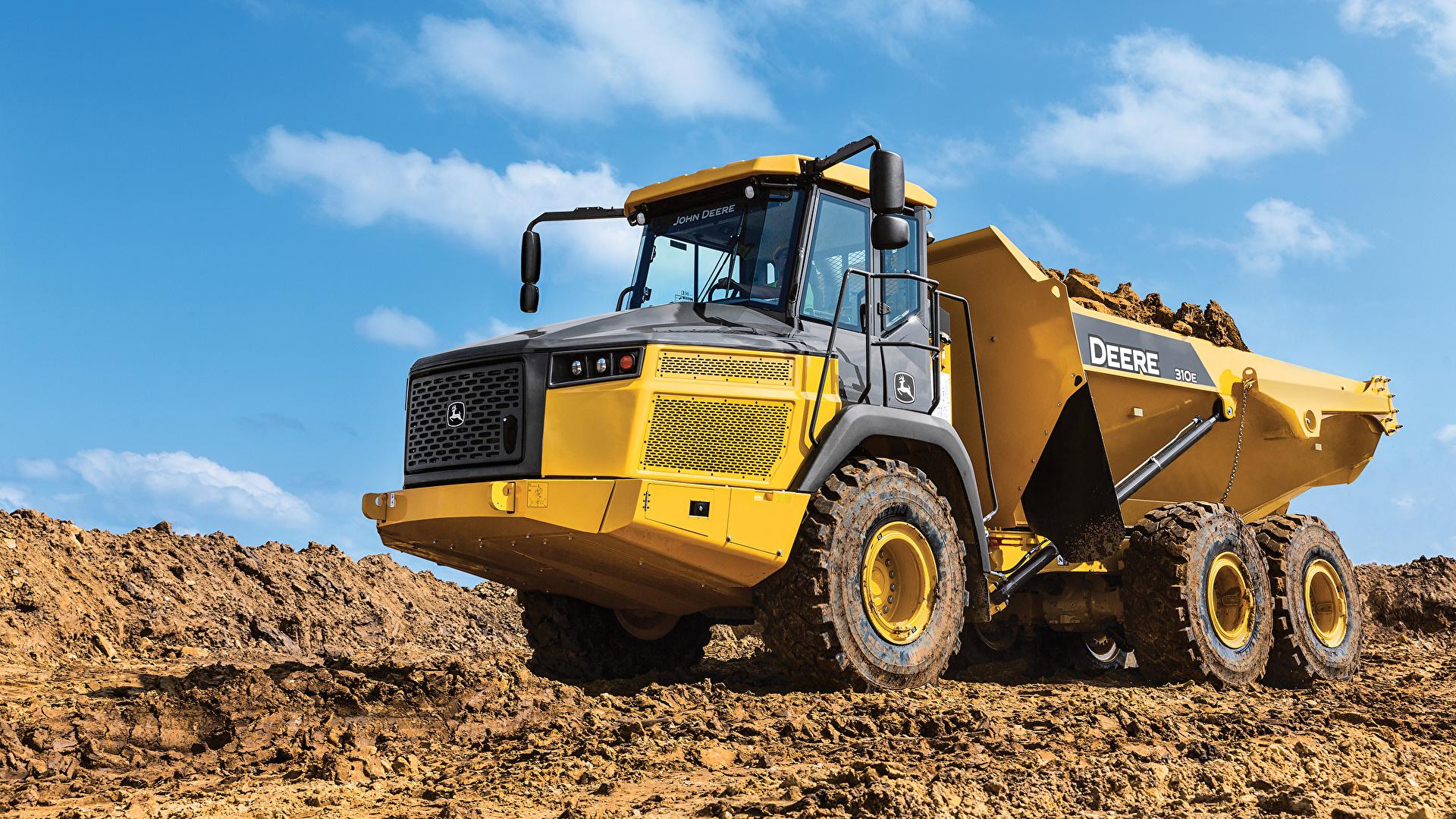 Wallpaper lorry 2017 John Deere 310E Yellow Cars 1920x1080 Trucks auto automobile