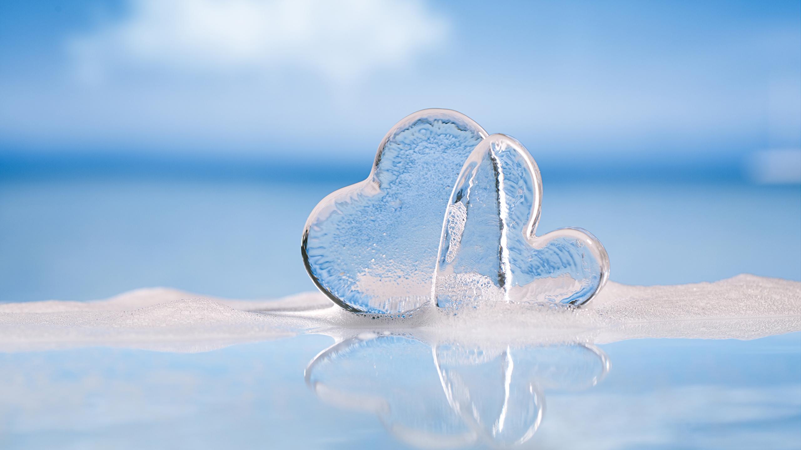 Fotos von Valentinstag Herz Eis 2 2560x1440 Zwei