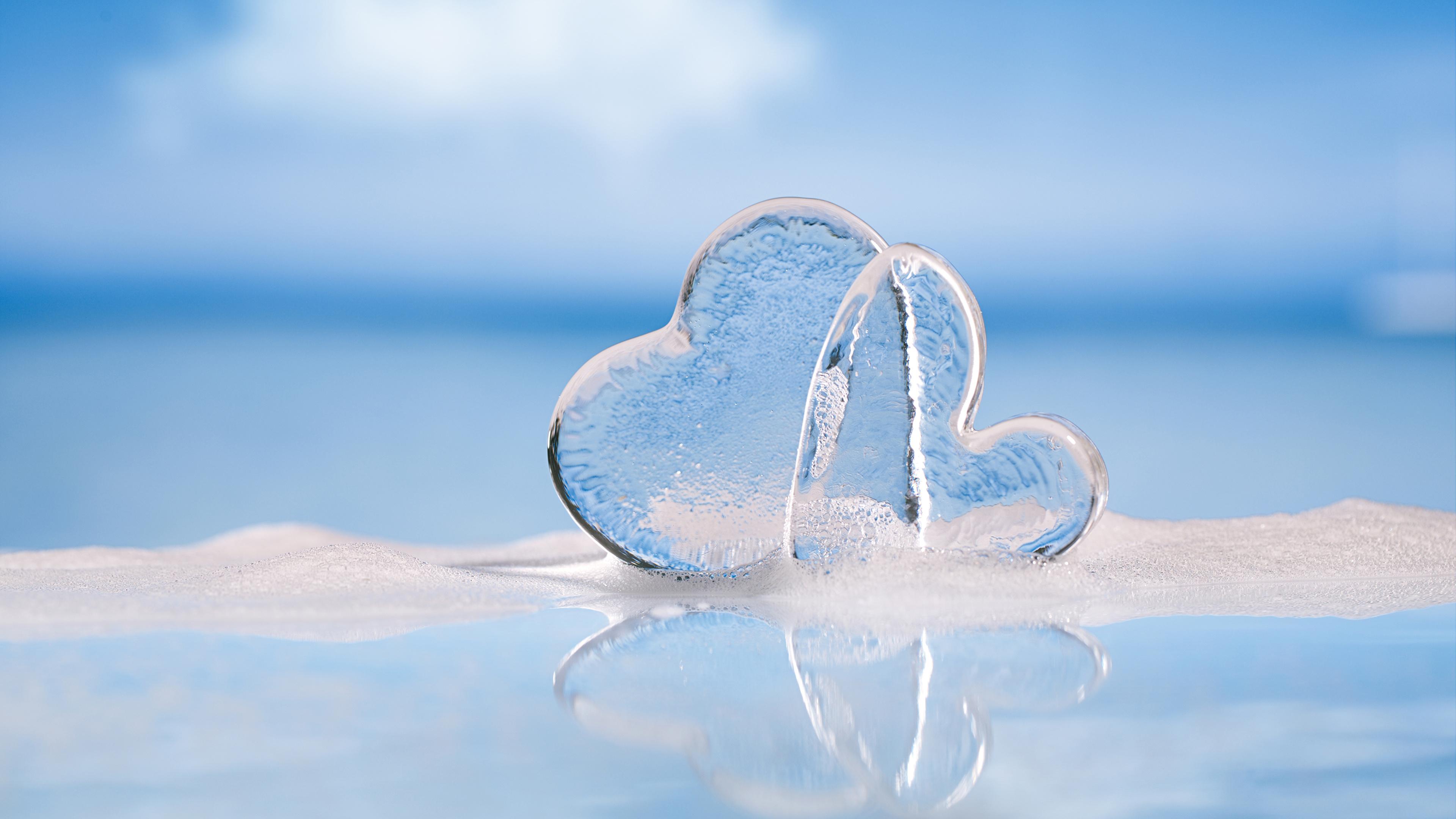 Fotos von Valentinstag Herz Eis 2 3840x2160 Zwei
