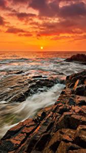 Hintergrundbilder Bulgarien Morgendämmerung und Sonnenuntergang Küste Stein Meer Natur