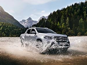 Pictures Mercedes-Benz Water splash At speed Silver color Pickup 2018 X-Class auto