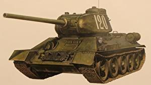 Bilder Panzer Gezeichnet T-34 Russisches Farbigen hintergrund  Militär