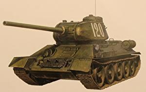 Bilder Panzer Gezeichnet T-34 Russische Farbigen hintergrund  Heer