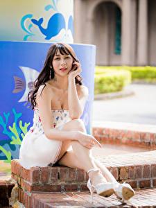 Hintergrundbilder Asiatische Sitzend Bein Braune Haare Blick Pose junge frau