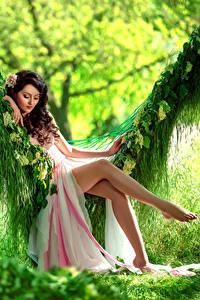 Bilder Braunhaarige Kleid Sitzend Schaukel Bein Schön Mädchens
