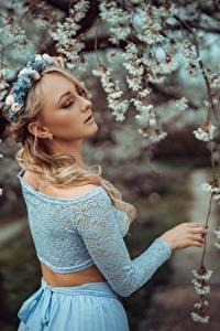 Fotos Frühling Ast Bokeh Blond Mädchen Kranz Mädchens