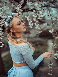 Desktop hintergrundbilder Frühling Ast Bokeh Blond Mädchen Kranz Mädchens