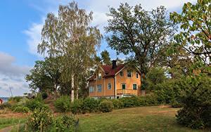 Hintergrundbilder Schweden Haus Eigenheim Design Bäume Strauch Saltsjobaden Städte