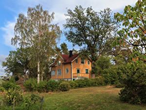 Hintergrundbilder Schweden Haus Eigenheim Design Bäume Strauch Saltsjobaden