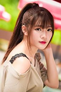 Bilder Asiatisches Bokeh Braune Haare Starren Haar
