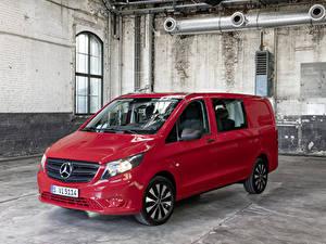 Hintergrundbilder Mercedes-Benz Ein Van Rot Metallisch 2020 Vito Mixto Worldwide