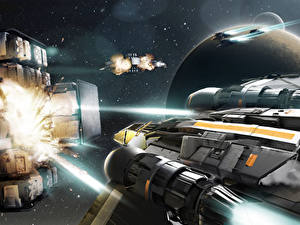 Pictures Star Citizen Starship Firing vdeo game Space Fantasy
