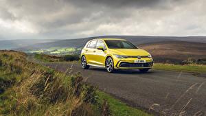 Wallpapers Volkswagen Roads Yellow Metallic Golf eTSI R-Line, UK-spec, 2020 auto