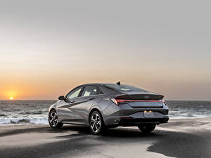 Hintergrundbilder Hyundai Küste Graues Metallisch Elantra Hybrid, North America, (CN7), 2020 auto