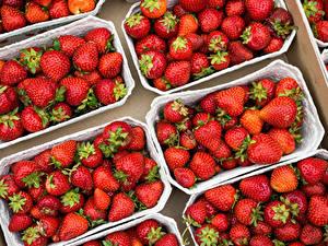 Hintergrundbilder Erdbeeren Viel das Essen