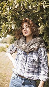 Bilder Braunhaarige Hemd Schal Starren Mädchens
