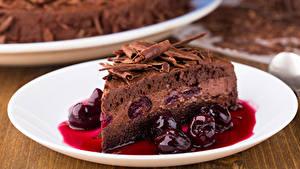 Fotos Torte Kirsche Schokolade Stück Lebensmittel