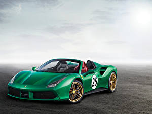 Hintergrundbilder Ferrari Grün Roadster 2017-18 488 Spider The Green Jewel